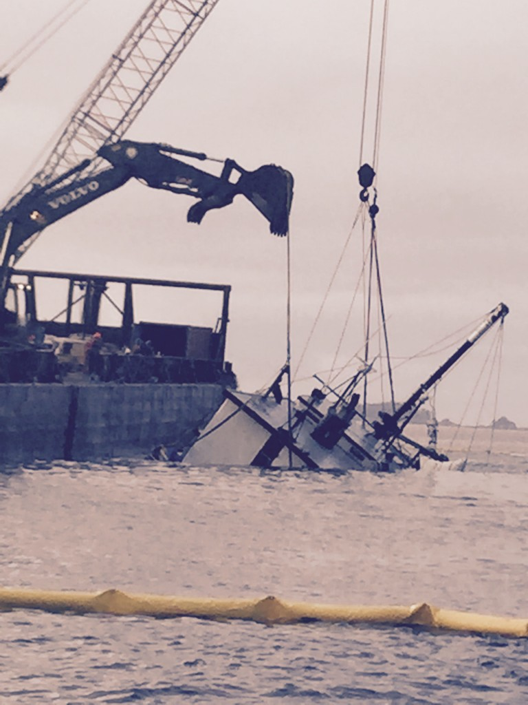 A crane and backhoe were both used to lift Eyak. (Photo courtesy of Dave Castle)