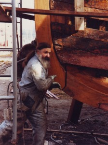 Mike sanding the hull of F/V Oceanus in Port Townsend, WA, 1988. (Photo courtesy of Mike Mayo)